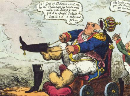 Людовик XVIII пытается примерить сапоги Наполеона. Карикатура.